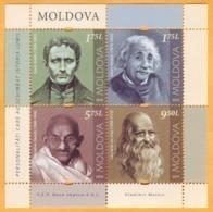2019 Moldova Moldavie Sheet  Leonardo Da Vinci, Louis Braille, Albert Einstein, Mahatma Handhi  . - Célébrités