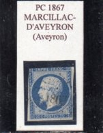 Aveyron - N° 14A (déf) Obl PC 1867 Marcillac-d'Aveyron - 1853-1860 Napoléon III