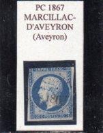 Aveyron - N° 14A (déf) Obl PC 1867 Marcillac-d'Aveyron - 1853-1860 Napoleone III
