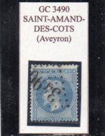 Aveyron - N° 29B Obl GC 3490 Saint-Amand-des-Côts - 1863-1870 Napoléon III Con Laureles