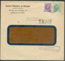 Lettre HOUYOUX Affr. à 5Fr.25 En Expres (griffe Bilingue) Et TRAM (TRAM : 31mm Sur 10mm) De Bruxelles 4 Le 2-III-1929 Ve - 1922-1927 Houyoux