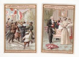 CHOCOLAT D'AIGUEBELLE   Voyage Du Président En Russie   St Petersbourg   24 Août 1897   Lot De 2 Chromos Bords Coupés - Aiguebelle