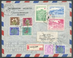 Série SANATORIUM + 20c. Lion Obl. Sc ANDERLECHT Sur Lettre Par Avion Et Recommandée Du 5-II-1951 Vers Calcutta (Indes An - Belgium