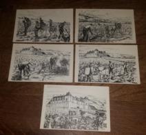 Illustrateur G. Jeanjean - Travail De La Vigne - Vendanges Au Clos Vougeot, Sulfutage, Taille & Brulage Sarments, Labour - Illustrateurs & Photographes
