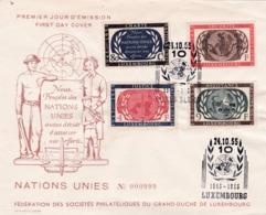 LUXEMBOURG :  Série 496 à 499  10ème Anniversaire De La Charte Des Nations Unies Sur Lettre 1er Jour De 1955 - Luxemburg