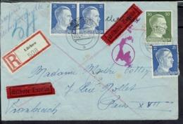 1943 - Affranchissement Adolf Hitler Sur Enveloppe Exprès En Recommandé De Luchow Pour Paris - Contrôle De Censure -B/TB - Germany
