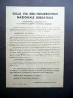 Volantino Insurrezione Nazionale Liberatrice Genova Torino 1944 Antifascismo - Vecchi Documenti