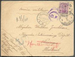 N°140 Obl. Sc POSTES MILITAIRES BELGIQUE 4 Sur Lettre Du 24-I-1918 Vers Vlissingen (Pays-Bas) Biffé Et Renvoi Vers Harde - Weltkrieg 1914-18