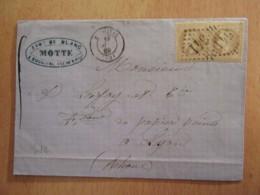 2 Timbres Napoléon III Lauré 10c YT N°28A Sur Lettre - GC 541 Bougival Vers Lyon - 1869 - 1863-1870 Napoleon III With Laurels