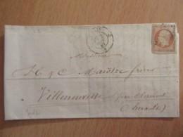 Timbre Napoléon III 40c Non-dentelé YT N°16 Sur Lettre - Ob. Losange Chiffré ??? Paris Vers Villeneuvette - 1867 - 1853-1860 Napoleon III