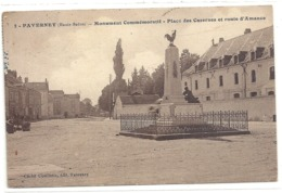 2. FAVERNEY . MONUMENT COMMEMORATIF - PLACE DES CASERNES ET ROUTE D'AMANCE . CARTE AFFR AU VERSO . 2 SCANES - Francia