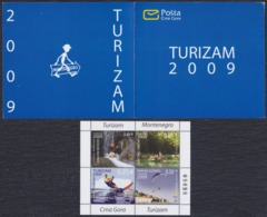 Montenegro 2009 Tourism - Extreme Sports, Booklet, MNH (**) Michel 210-213 - Montenegro