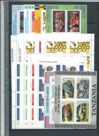Tansania ,  Bigger Lot Of Mint Souvenir Sheets And Mini-sheets On 2 Stock-pages(as Per Scans) MNH - Tanzania (1964-...)
