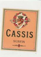 AN 606 / ETIQUETTE  CASSIS  SURFIN - Labels