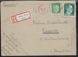 Allemagne - 1943 - Affranchis. A. Hitler à 55 P. De Finow (Mark) En Recommandé Pour Eaubonne - Contrôle Censure - B/TB - - Allemagne