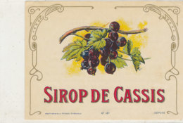 AN 597 / ETIQUETTE  SIROP DE  CASSIS    N°187 - Etiquettes