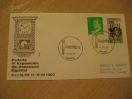 MADRID 1980 Feriarte Anticuario Clock Antique Dealer Antiquaire Cancel Cover SPAIN Archeology Archeologie - Archäologie
