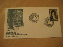 SEVILLA 1981 Feria De Anticuarios Coin Antique Dealer Antiquaire Cancel Cover SPAIN Archeology Archeologie - Archäologie