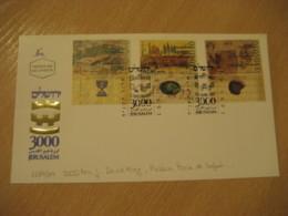JERUSALEM 1995 Yvert 1287/9 3000 Aniv. David King Rabbin Pinie De Safed FDC Cancel Cover ISRAEL Archeology Archeologie - Archäologie