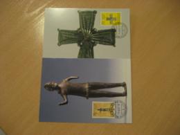 VADUZ 2001 Caroling Crisscross Carolingie Gutenberg Mars Set Maximum Maxi 2 Card LIECHTENSTEIN Archeology Archeologie - Archäologie