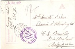 Carte De Prisonnier De Soldat Belge 03/10/1917 - Militaria