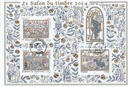 FRANCE 2014 SALON DU TIMBRE LES GRANDES HEURES DE L HISTOIRE GAUFRAGE OR  BF 135 - - Bloc De Notas & Hojas