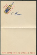 1930s K.W.V. Grape Juice Menu Card - Advertising