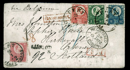 HUNGARY. 1872. Pest To Kirkwall. Registered Envelope Franked 3kr.green, 5kr Rose (x2) And 10kr Blue Franz Josef I Engrav - Hungary