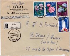 LUXEMBOURG :   Série Fleurs 564 à 566 Sur Recommandé De Wiltz De 1959 Pour La France - Luxembourg