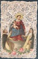 Santini 26- La Vergine Del Rosario Di Pompei ACon S Domenico E S Caterina, Cromo Con Cornice Ornata A Punzone, Fine 800. - Santini