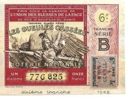 Billet Loterie Nationale - Les Gueules Cassées 1942 - Série B - 6e Tranche, 1/10e - Loterijbiljetten