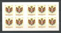 MONACO ANNEE 2009 CARNET DE 10 TIMBRES AUTOCOLANTS A VALIDITE PERMANENTE NEUF ** NMH NON PLIE - Unused Stamps