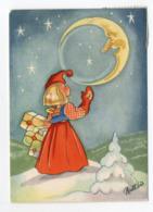 Mini AK - SWEDEN - CHRISTMAS/ NEW YEAR - Artist Signed : BRITT LIS ERLANDSSON - GIRL - MOON - Used Ca. 1950 - Kerstmis