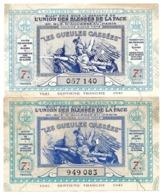 LOT 2 Billet Loterie Nationale - Les Gueules Cassées 1941 - 7e Tranche, 1/10e - Loterijbiljetten