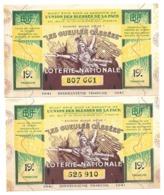 LOT 2 Billet Loterie Nationale - Les Gueules Cassées 1941 - 19e Tranche - Loterijbiljetten