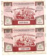 LOT 2 Billet Loterie Nationale - Les Gueules Cassées 1941 - 17e Tranche - Loterijbiljetten