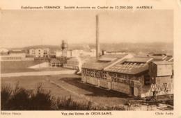 13. CPA. MARSEILLE. Usines De Croix Sainte, Ets Verminck, Huileries Réunies. Pub Au Verso. Voir Scan. - Marseille