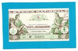 Billet Loterie Nationale - SOCIETE D'ENCOURAGEMENT 1941 - 4e Tranche  - 1/10e - Loterijbiljetten