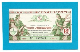 Billet Loterie Nationale - SOCIETE D'ENCOURAGEMENT 1941 - 18e Tranche  - 1/10e - Loterijbiljetten