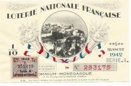 Billet Loterie Nationale Française - OMNIUM MONEGASQUE, Monte Carlo, 1942 Tr 6 Série A 1/10e, Vue Du Rocher - Loterijbiljetten