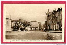 CPA (Réf : (C814) 7. CASTRES (33 GIRONDE) Place De L'Hôtel De Ville Et Route De Langon (attelage Mule) - Other Municipalities