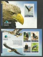 UGANDA 2014 BIRDS OF PREY EAGLES SET OF 2 M/SHEETS MNH - Uganda (1962-...)