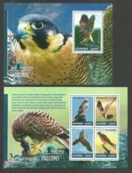 UGANDA 2014 BIRDS OF PREY FALCONS SET OF 2 M/SHEETS MNH - Uganda (1962-...)