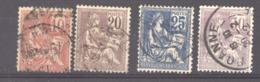 0ob  0130  -  France  :  Yv  112-15  (o) - 1900-02 Mouchon