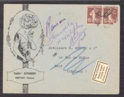 L  0036  -  France   :  Yv  189  (o)  Raison Sociale N' Existe Plus : Manuscrite Et Vignette - Postmark Collection (Covers)