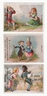 Lot De 3 Chromos   MAISON DE TEINTURE LACRUZ COLLOT  à Troyes    Couples    9.7 X 6.9 Cm - Trade Cards