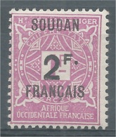 French Soudan, 2f./1f., Postage Due, 1927, MH VF - Sudan (1894-1902)