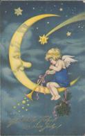 Herzliche Neujahrsgrüße, Engel Im Mond Musiziert, Annaberg, Erzgebirge, Künstler-Postkarte, Zeichner, Feiern & Feste - Anno Nuovo