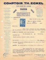 EN 1933 AVEC TIMBRE VIGNETTE JUBILE COMPTOIR TH ECKEL PARIS FACTURE PUBLICITAIRE ILLUSTREE DOCUMENT COMMERCIAL LEZIGNAN - France