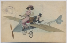M.M. Vienne, Couple En Avion, Koppel In Vliegtuig, Vintage Airplane 1911y.  D142 - Vienne
